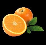 Скачать PNG картинку на прозрачном фоне Апельсин, с половиной апельсина и листьями