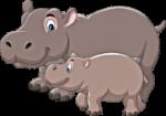Скачать PNG картинку на прозрачном фоне Большой и маленький бегемот, мультяшные нарисованные