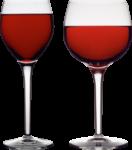 Скачать PNG картинку на прозрачном фоне Два бокала с красным вином