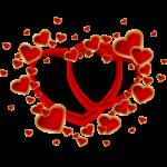 Скачать PNG картинку на прозрачном фоне Два красных пустых сердца вокруг которых маленькие сердечки