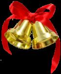 Скачать PNG картинку на прозрачном фоне Два маленьких колокольчика с красным бантом и лентой
