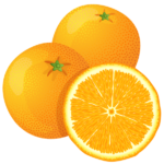 Скачать PNG картинку на прозрачном фоне Два нарисованных апельсина с половиной апельсина