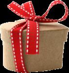 Скачать PNG картинку на прозрачном фоне Картонная коробка в виде сердца с красно-белой лентой и бантом