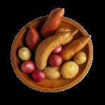 Скачать PNG картинку на прозрачном фоне Картошка в тарелке, разная, вид сверху