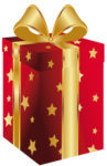 Скачать PNG картинку на прозрачном фоне Коробка нарисованная со звездами и золотой лентой и бантом
