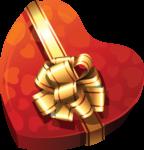 Скачать PNG картинку на прозрачном фоне Коробка подарочная, нарисованная в виде сердца с золотой лентой и бантом