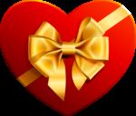 Скачать PNG картинку на прозрачном фоне Коробка в виде сердца, нарисованная с золотым бантом