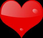 Скачать PNG картинку на прозрачном фоне Красное глянцевое нарисованное сердце с каплями воды