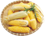 Скачать PNG картинку на прозрачном фоне Кукуруза с зеленью на тарелке