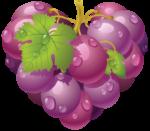 Скачать PNG картинку на прозрачном фоне Нарисованная розовая гроздь в виде сердца с листьями