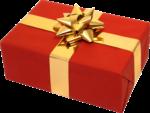 Скачать PNG картинку на прозрачном фоне Прямоугольная красная коробка с золотым бантоом и лентой