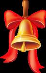 Скачать PNG картинку на прозрачном фоне Школьный колокольчик нарисованный, с бантом и лентой красного цвета