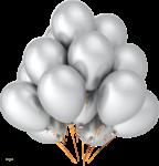 Скачать PNG картинку на прозрачном фоне Серебристые воздушные шары в связке, нарисованные