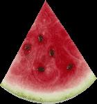 Скачать PNG картинку на прозрачном фоне Треугольная долька арбуза, вид сбоку с косточками