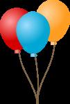 Скачать PNG картинку на прозрачном фоне Три воздушных нарисованный шара, красный, голубой, желтый, с ленточкой