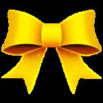 Скачать PNG картинку на прозрачном фоне Желтый нарисованный бант