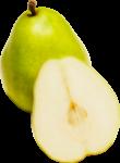 Скачать PNG картинку на прозрачном фоне Зеленая груша с половинкой