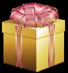 Скачать PNG картинку на прозрачном фоне Золотая коробка с розовой лентой и бантом