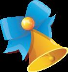 Скачать PNG картинку на прозрачном фоне Золотой колокольчик с голубым бантом