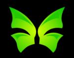 Скачать PNG картинку на прозрачном фоне бабочка зеленая, иконка, логоти, рисунок, вид сверху