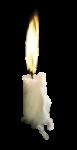 Скачать PNG картинку на прозрачном фоне Белая свечка горит