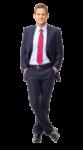 Скачать PNG картинку на прозрачном фоне Бизнесмен в костюме, руки в карманах, ноги скрещены