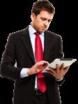 Скачать PNG картинку на прозрачном фоне Бизнесмен в костюме, смотрит в планшет, вид спереди