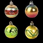 Скачать PNG картинку на прозрачном фоне четыре разрисованных ёлочных новогодних шара