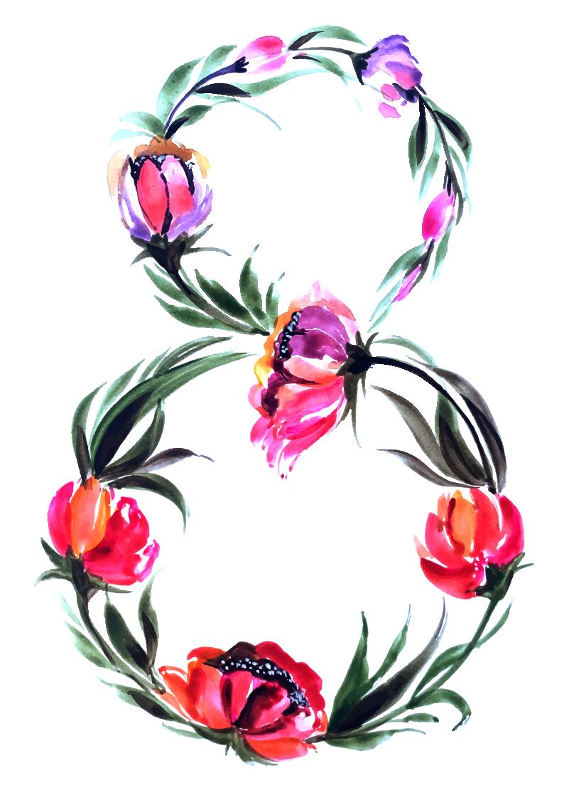 Цифра восемь, 8, из цветов нарисованных акварельной краской