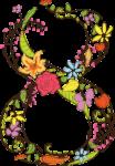 Скачать PNG картинку на прозрачном фоне Цифра восемь, с нарисованными цветма