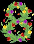 Скачать PNG картинку на прозрачном фоне Цифра восемь,8, из цветов и листиков, нарисованные