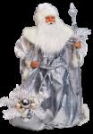 Скачать PNG картинку на прозрачном фоне Дед Мороз, нарисованный в серебристом костюме