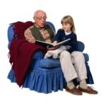 Скачать PNG картинку на прозрачном фоне Дедушка читает внучке книжку, сидят на синем кресле