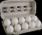 Скачать PNG картинку на прозрачном фоне Десяток куриных яиц в кортонной коробке