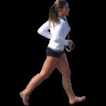 Скачать PNG картинку на прозрачном фоне Девушка с наушниками босиком идет, вид сбоку