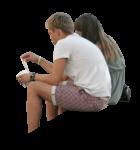 Скачать PNG картинку на прозрачном фоне Девушка с парнем сидят, вид со спины