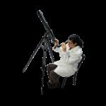 Скачать PNG картинку на прозрачном фоне Девушка, сидит и смотрит в телескоп