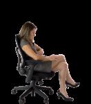 Скачать PNG картинку на прозрачном фоне Девушка сидит на офисном кресле, смотрит на руку, вид сбоку