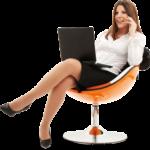 Скачать PNG картинку на прозрачном фоне Девушка сидит на оранжевом кресле с ноутбуком и разговаривает по мобильному телефону