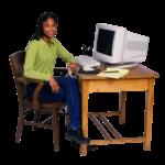 Скачать PNG картинку на прозрачном фоне Девушка сидит на стуле рядом с компьютером