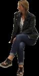 Скачать PNG картинку на прозрачном фоне Девушка в джинсках и пиджаке, сидит, смотрит в бок
