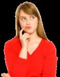 Скачать PNG картинку на прозрачном фоне Девушка в красном платье, задумчикая, смотрит в бок