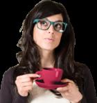 Скачать PNG картинку на прозрачном фоне Девушка в очках и с чашкой, задумчивая
