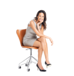 Скачать PNG картинку на прозрачном фоне Девушка в платье, сидит на стуле, улыбается