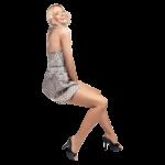 Скачать PNG картинку на прозрачном фоне Девушка в платье в горошек, сидит, улыбается