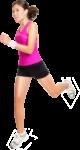 Скачать PNG картинку на прозрачном фоне Девушка в розовой футболке бежит, вид сбоку