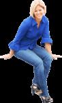 Скачать PNG картинку на прозрачном фоне Девушка в сине блузке, сидит, смотрит вперед