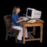 Скачать PNG картинку на прозрачном фоне Девушка в синей кофте, сидит за компьютером