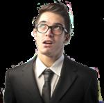 Скачать PNG картинку на прозрачном фоне Думающий мужчина в очках и костюме, смотрит вверх