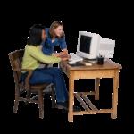 Скачать PNG картинку на прозрачном фоне Две девушки возле компьютера, одна сидит и работает